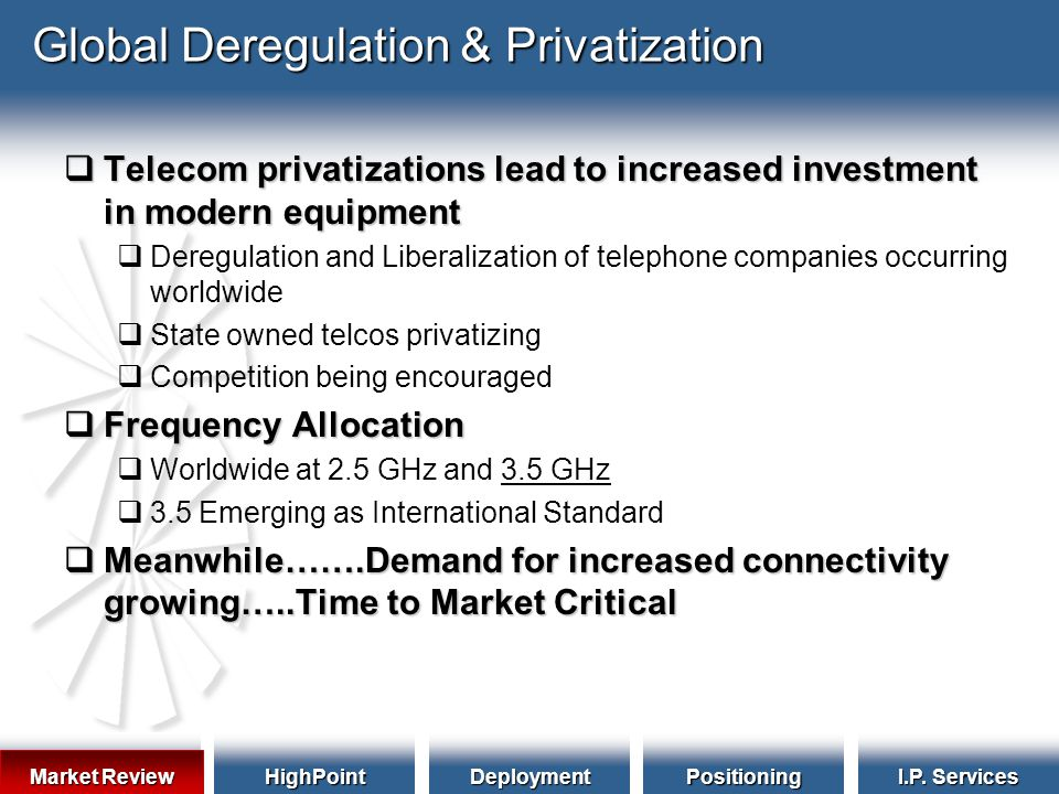 HighPointDeploymentPositioning I.P. Services Global Deregulation & Privatization  Telecom privatizations lead to increased investment in modern equip