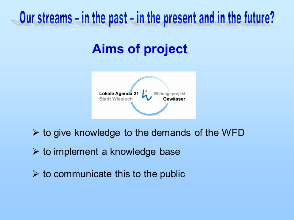 Aims of project  to give knowledge to the demands of the WFD  to implement a knowledge base  to communicate this to the public
