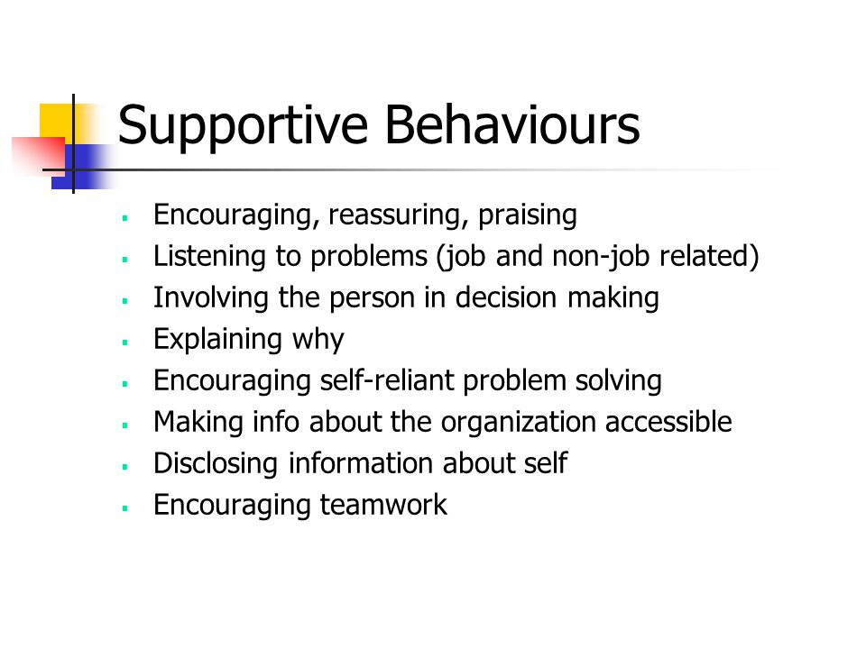 Supportive Behaviours  Encouraging, reassuring, praising  Listening to problems (job and non-job related)  Involving the person in decision making