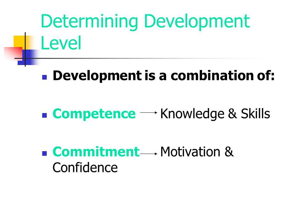 Determining Development Level Development is a combination of: CompetenceKnowledge & Skills CommitmentMotivation & Confidence