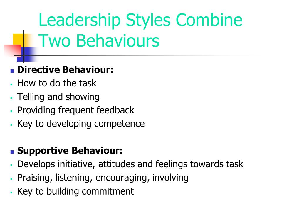 Leadership Styles Combine Two Behaviours Directive Behaviour:  How to do the task  Telling and showing  Providing frequent feedback  Key to develo
