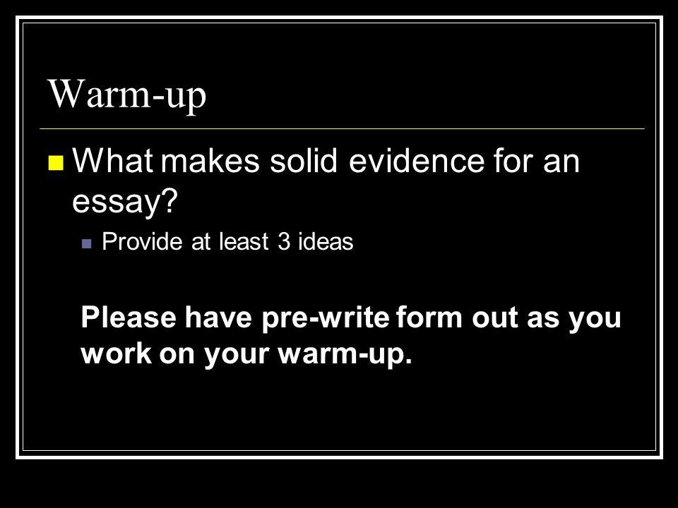 Keys to relevant evidence