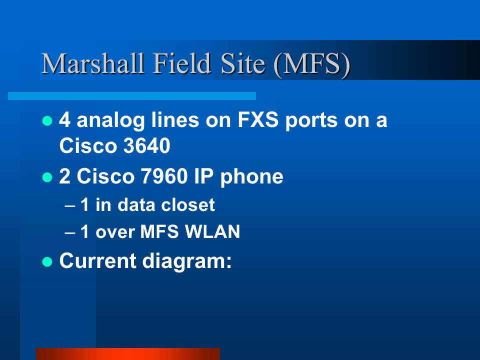 Marshall Field Site (MFS) 4 analog lines on FXS ports on a Cisco 3640 2 Cisco 7960 IP phone –1 in data closet –1 over MFS WLAN Current diagram: