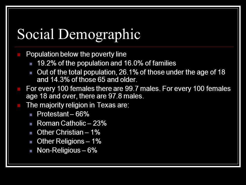 Social Demographic Population below the poverty line 19.2% of the population and 16.0% of families Out of the total population, 26.1% of those under the age of 18 and 14.3% of those 65 and older.