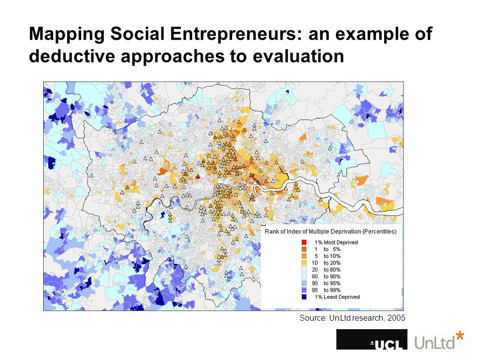 Mapping Social Entrepreneurs: an example of deductive approaches to evaluation Source: UnLtd research, 2005
