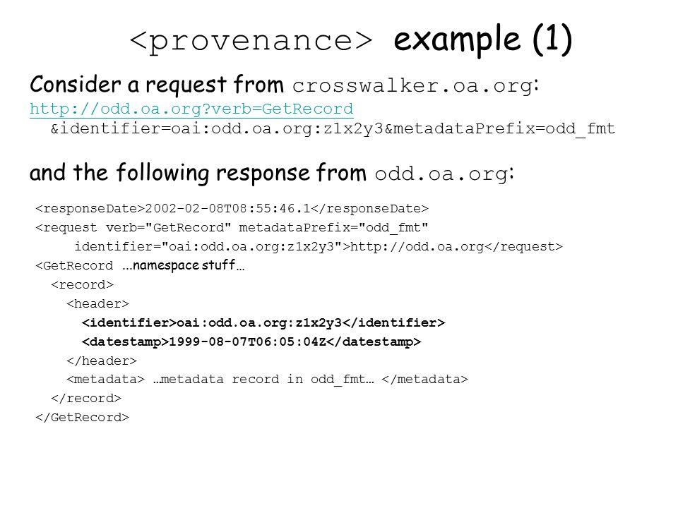 example (1) 2002-02-08T08:55:46.1 <request verb= GetRecord metadataPrefix= odd_fmt identifier= oai:odd.oa.org:z1x2y3 >http://odd.oa.org <GetRecord...namespace stuff… oai:odd.oa.org:z1x2y3 1999-08-07T06:05:04Z …metadata record in odd_fmt… Consider a request from crosswalker.oa.org : http://odd.oa.org verb=GetRecord &identifier=oai:odd.oa.org:z1x2y3&metadataPrefix=odd_fmt and the following response from odd.oa.org :