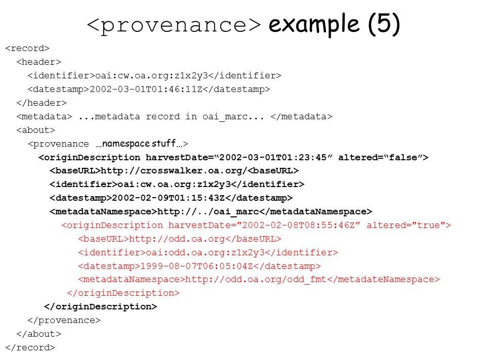 example (5) oai:cw.oa.org:z1x2y3 2002-03-01T01:46:11Z...metadata record in oai_marc...
