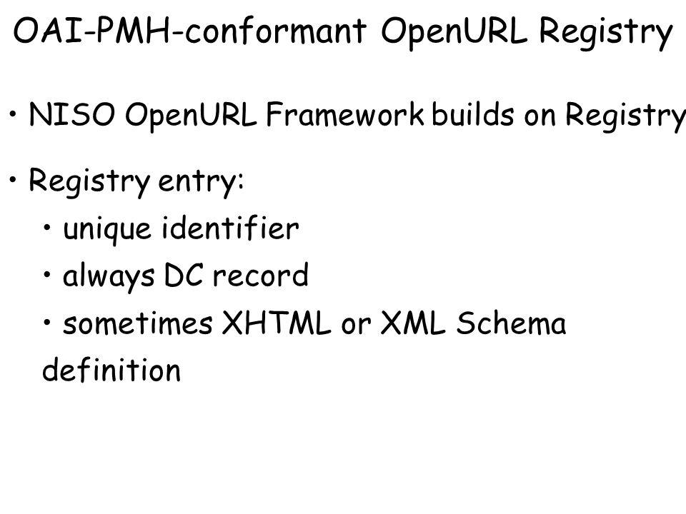 OAI-PMH-conformant OpenURL Registry NISO OpenURL Framework builds on Registry Registry entry: unique identifier always DC record sometimes XHTML or XML Schema definition