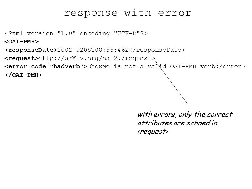 2002-0208T08:55:46Z http://arXiv.org/oai2 ShowMe is not a valid OAI-PMH verb response with error with errors, only the correct attributes are echoed in