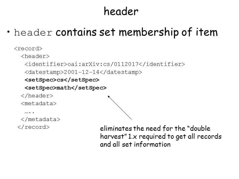 header contains set membership of item header oai:arXiv:cs/0112017 2001-12-14 cs math …..