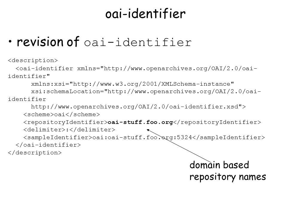 revision of oai-identifier <oai-identifier xmlns= http://www.openarchives.org/OAI/2.0/oai- identifier xmlns:xsi= http://www.w3.org/2001/XMLSchema-instance xsi:schemaLocation= http://www.openarchives.org/OAI/2.0/oai- identifier http://www.openarchives.org/OAI/2.0/oai-identifier.xsd > oai oai-stuff.foo.org : oai:oai-stuff.foo.org:5324 oai-identifier domain based repository names