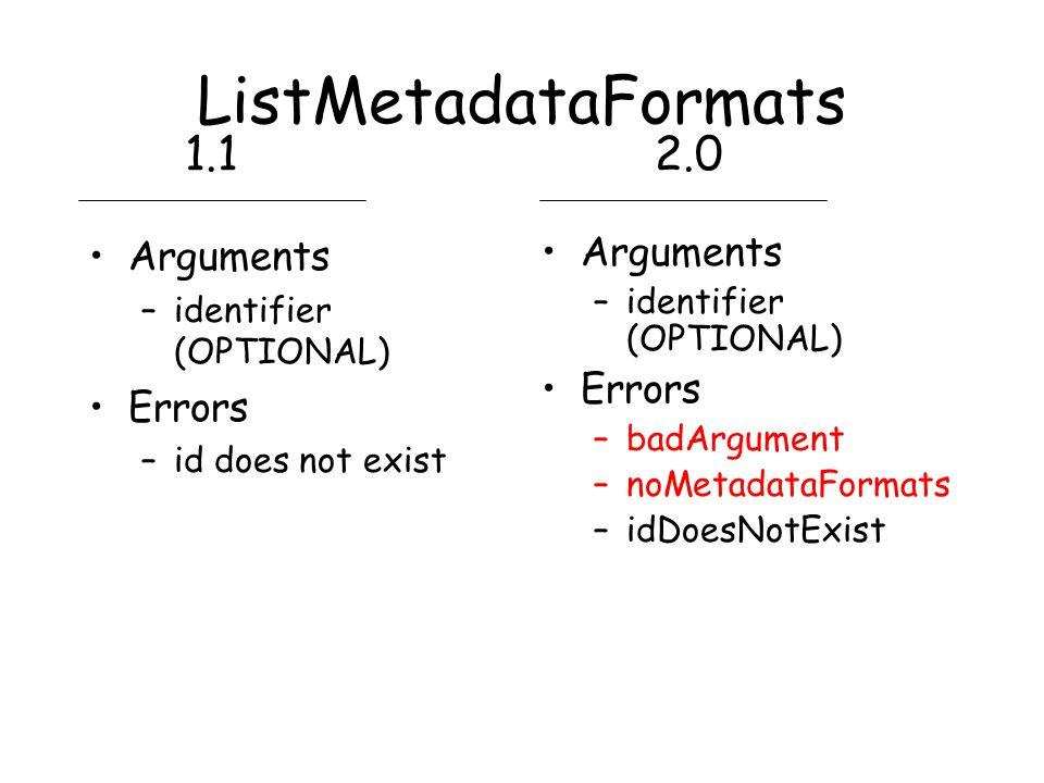 ListMetadataFormats Arguments –identifier (OPTIONAL) Errors –id does not exist Arguments –identifier (OPTIONAL) Errors –badArgument –noMetadataFormats –idDoesNotExist 1.12.0