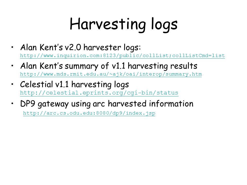 Harvesting logs Alan Kent's v2.0 harvester logs: http://www.inquirion.com:8123/public/collList;collListCmd=list http://www.inquirion.com:8123/public/collList;collListCmd=list Alan Kent's summary of v1.1 harvesting results http://www.mds.rmit.edu.au/~ajk/oai/interop/summary.htm http://www.mds.rmit.edu.au/~ajk/oai/interop/summary.htm Celestial v1.1 harvesting logs http://celestial.eprints.org/cgi-bin/status http://celestial.eprints.org/cgi-bin/status DP9 gateway using arc harvested information http://arc.cs.odu.edu:8080/dp9/index.jsp