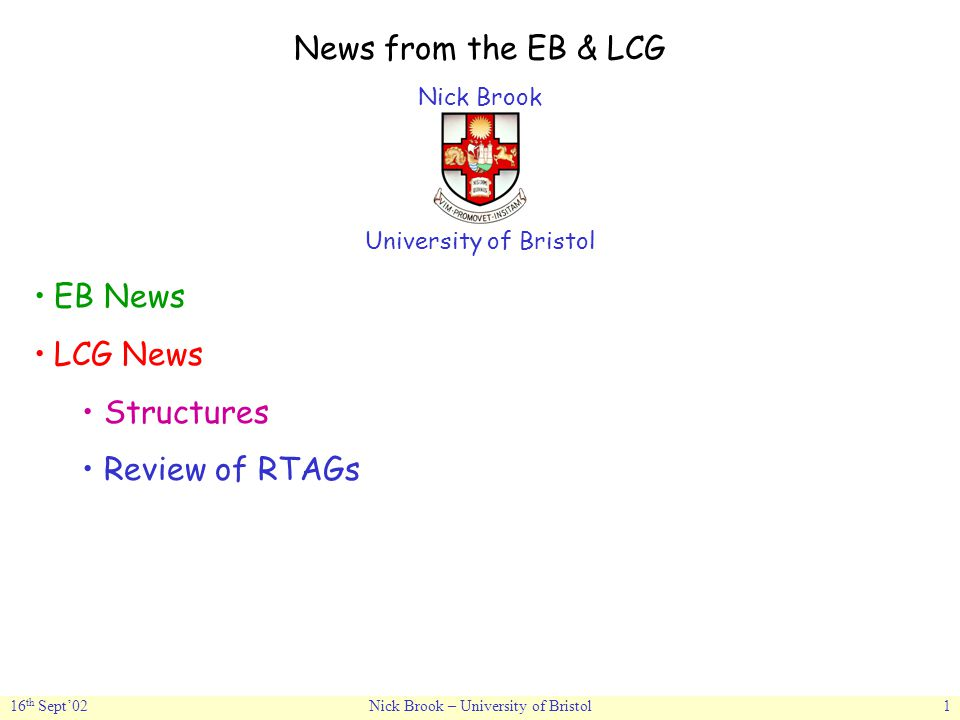 16 th Sept'02Nick Brook – University of Bristol1 News from the EB & LCG Nick Brook University of Bristol EB News LCG News Structures Review of RTAGs