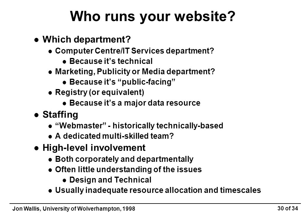 Jon Wallis, University of Wolverhampton, 1998 30 of 34 Who runs your website.