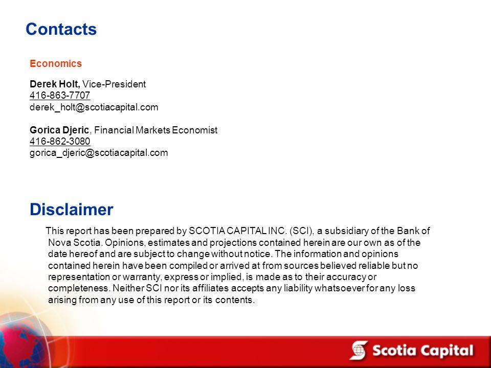 Contacts Economics Derek Holt, Vice-President 416-863-7707 derek_holt@scotiacapital.com Gorica Djeric, Financial Markets Economist 416-862-3080 gorica