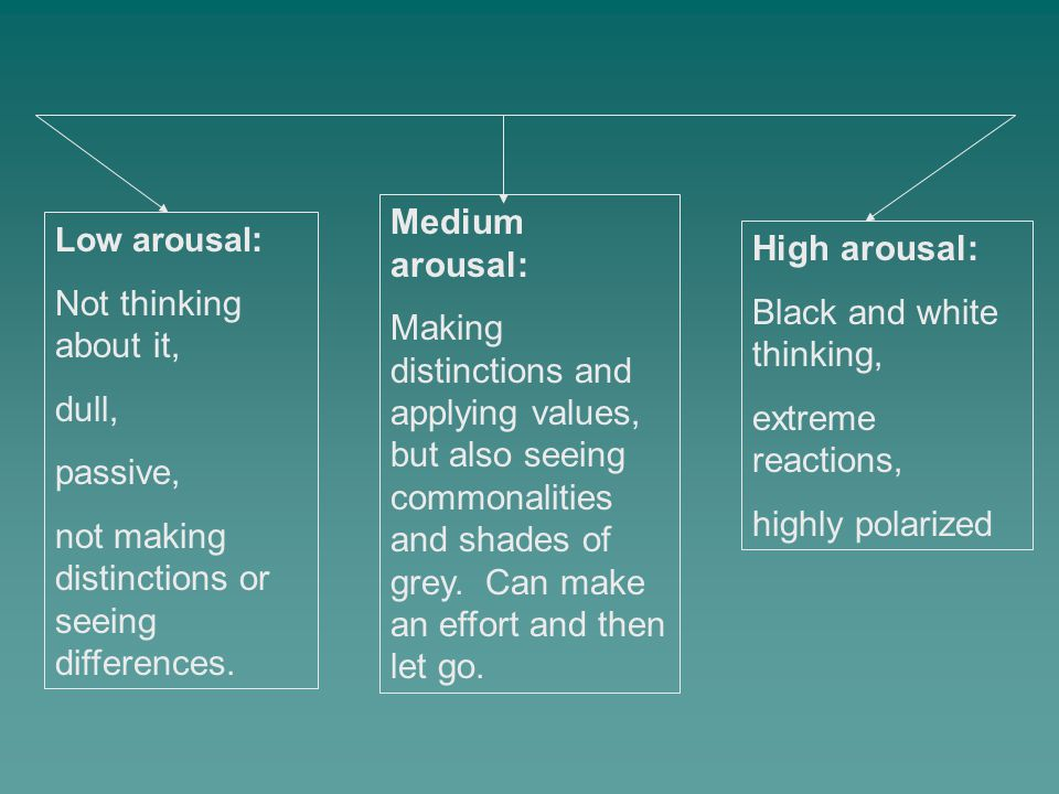 Low arousal : Not thinking about it, dull, passive, not making distinctions or seeing differences. High arousal: Black and white thinking, extreme rea