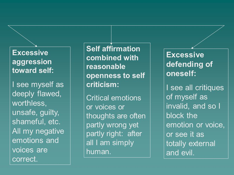 Excessive aggression toward self: I see myself as deeply flawed, worthless, unsafe, guilty, shameful, etc. All my negative emotions and voices are cor