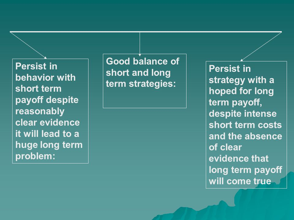 Persist in behavior with short term payoff despite reasonably clear evidence it will lead to a huge long term problem: Persist in strategy with a hope