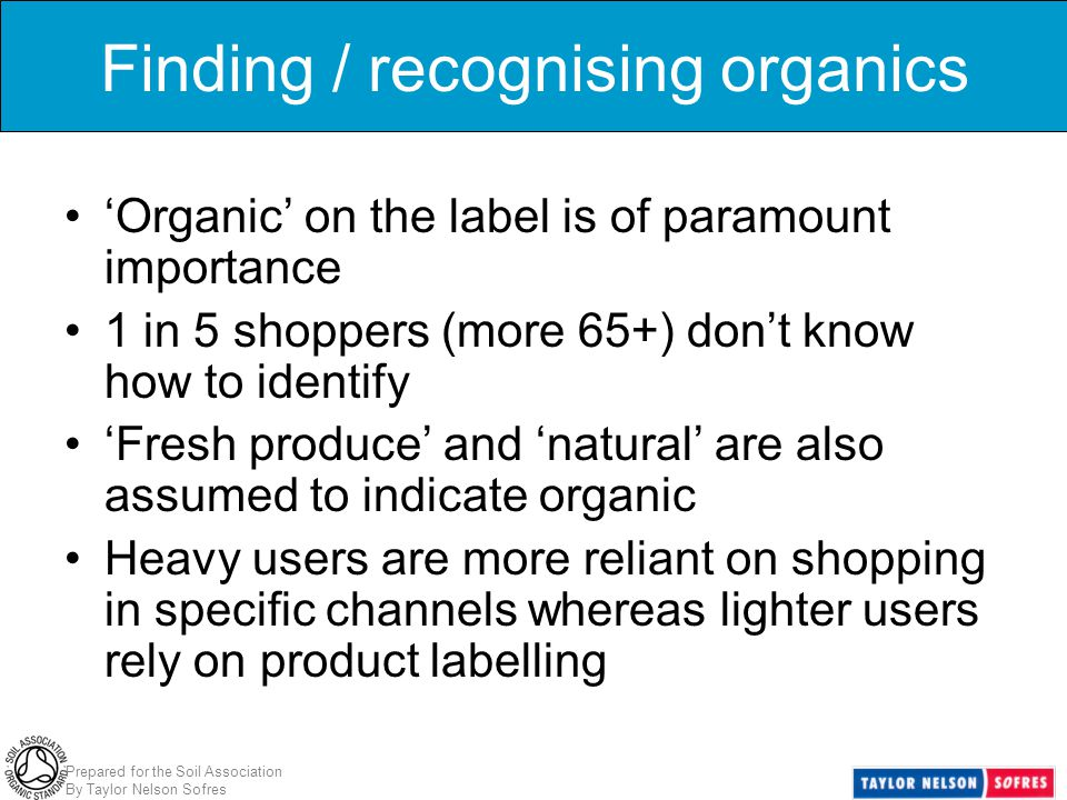 Prepared for the Soil Association By Taylor Nelson Sofres Finding / recognising organics 'Organic' on the label is of paramount importance 1 in 5 shop