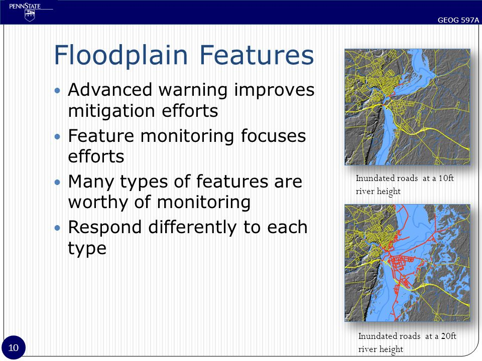 GEOG 597A 10 Floodplain Features Advanced warning improves mitigation efforts Feature monitoring focuses efforts Many types of features are worthy of monitoring Respond differently to each type Inundated roads at a 10ft river height Inundated roads at a 20ft river height