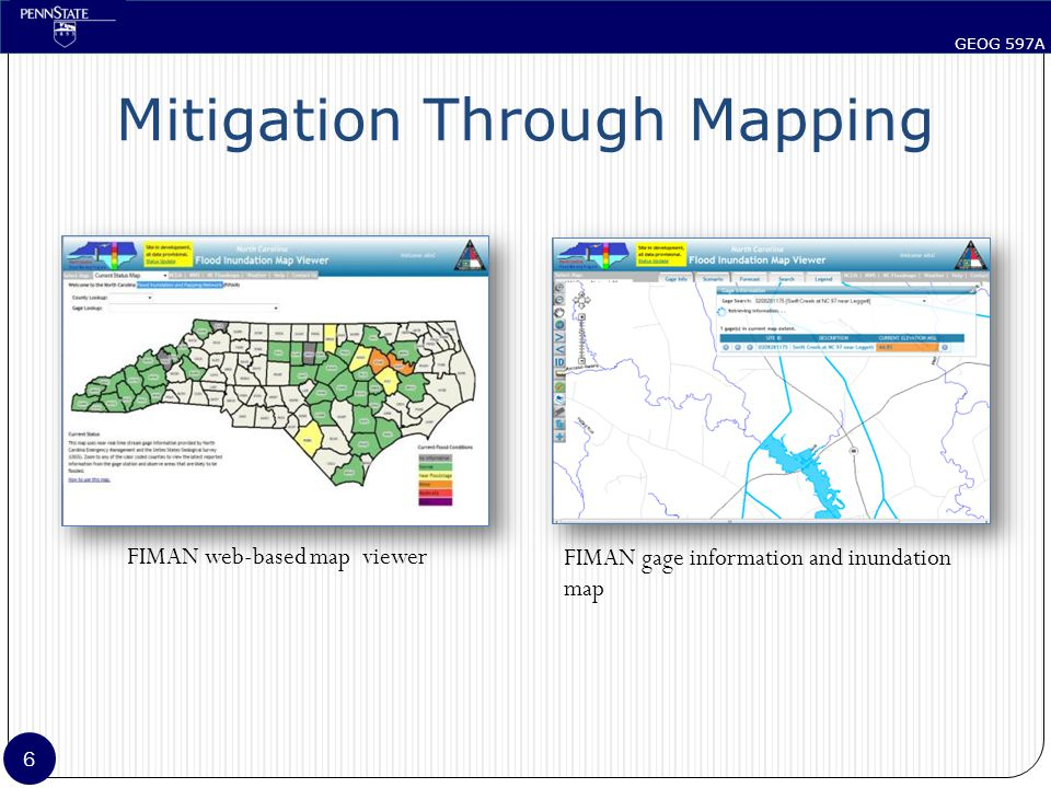 GEOG 597A 7 Proposed System Map the impact on individual features Automated Time-based Issue alerts for inundated features Serve data using open formats Visualization using common tools