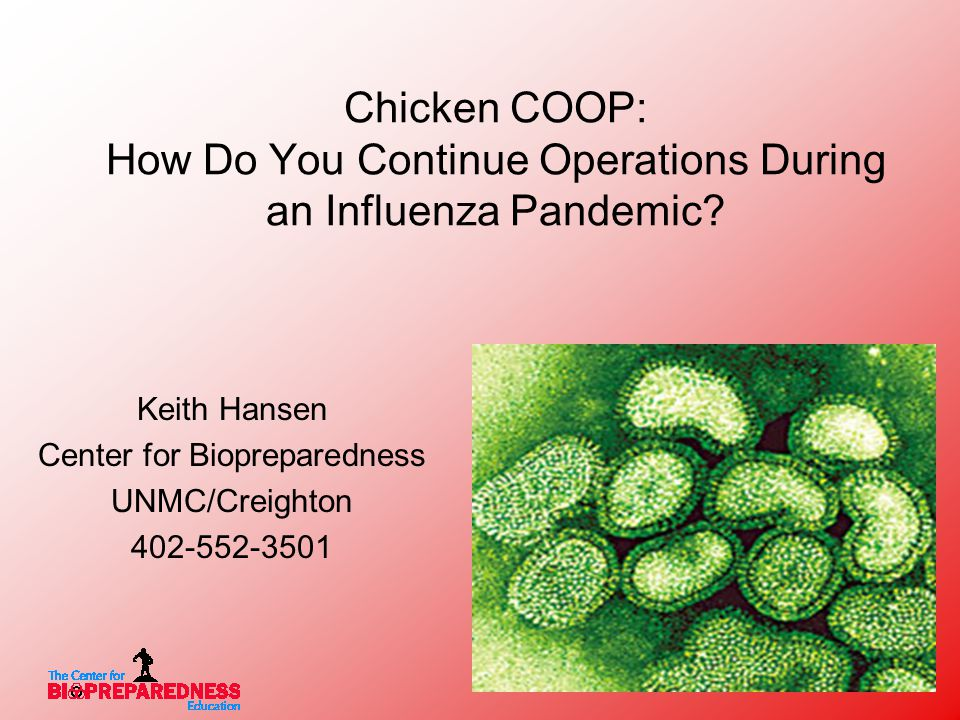 Chicken COOP: How Do You Continue Operations During an Influenza Pandemic.