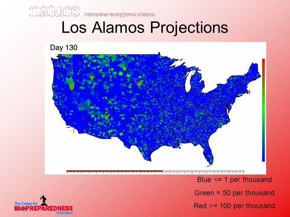 Los Alamos Projections Blue <= 1 per thousand Green = 50 per thousand Red >= 100 per thousand