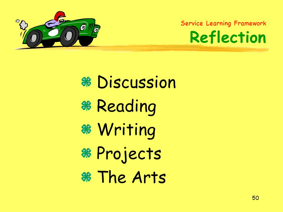 50 Discussion Reading Writing Projects The Arts Service Learning Framework Reflection