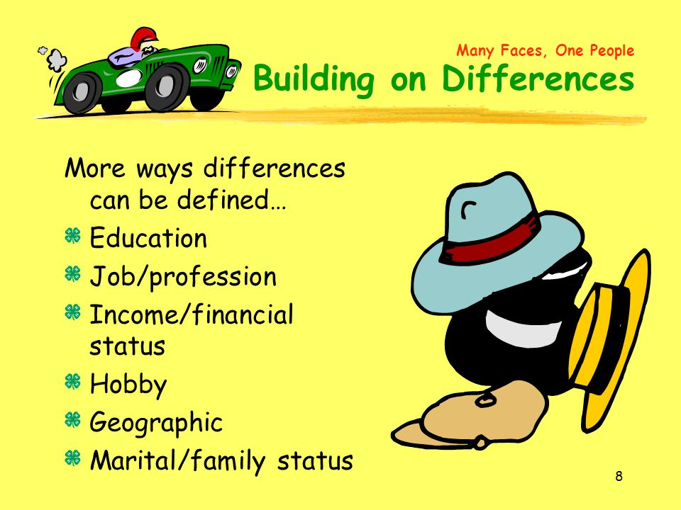 8 More ways differences can be defined… Education Job/profession Income/financial status Hobby Geographic Marital/family status Many Faces, One People