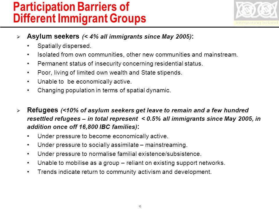 Confidential 10 Participation Barriers of Different Immigrant Groups  Asylum seekers (< 4% all immigrants since May 2005) : Spatially dispersed.