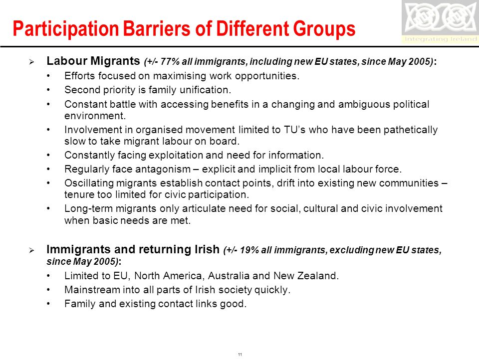 Confidential 11 Participation Barriers of Different Groups  Labour Migrants (+/- 77% all immigrants, including new EU states, since May 2005) : Efforts focused on maximising work opportunities.