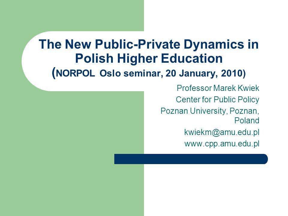 The New Public-Private Dynamics in Polish Higher Education ( NORPOL Oslo seminar, 20 January, 2010) Professor Marek Kwiek Center for Public Policy Poznan University, Poznan, Poland kwiekm@amu.edu.pl www.cpp.amu.edu.pl