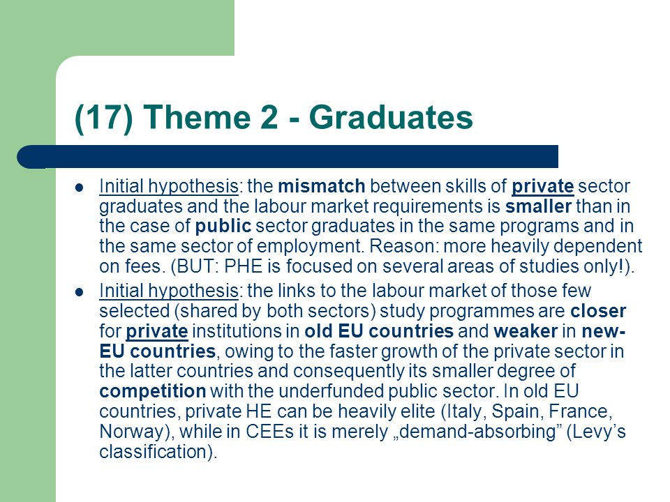 (17) Theme 2 - Graduates Initial hypothesis: the mismatch between skills of private sector graduates and the labour market requirements is smaller than in the case of public sector graduates in the same programs and in the same sector of employment.