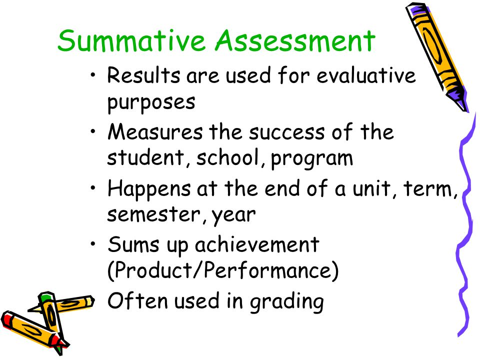 Summative Assessment Results are used for evaluative purposes Measures the success of the student, school, program Happens at the end of a unit, term, semester, year Sums up achievement (Product/Performance) Often used in grading