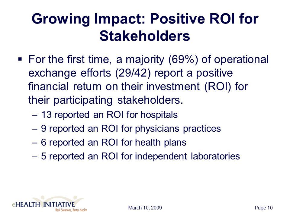 March 10, 2009Page 10 Growing Impact: Positive ROI for Stakeholders  For the first time, a majority (69%) of operational exchange efforts (29/42) report a positive financial return on their investment (ROI) for their participating stakeholders.