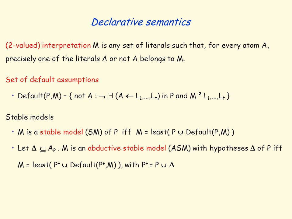 (2-valued) interpretation M is any set of literals such that, for every atom A, precisely one of the literals A or not A belongs to M. Set of default