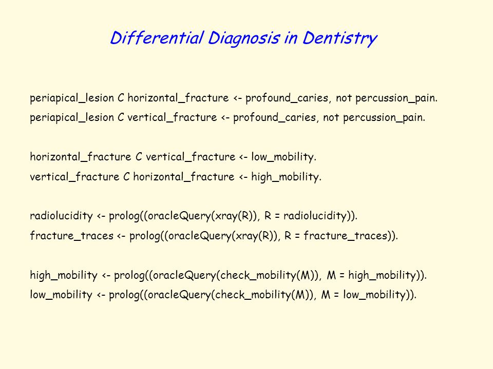 Differential Diagnosis in Dentistry periapical_lesion C horizontal_fracture <- profound_caries, not percussion_pain. periapical_lesion C vertical_frac