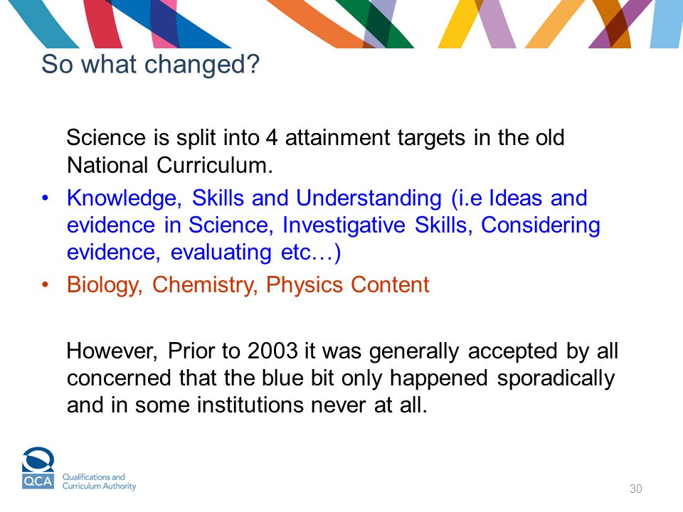 30 So what changed. Science is split into 4 attainment targets in the old National Curriculum.