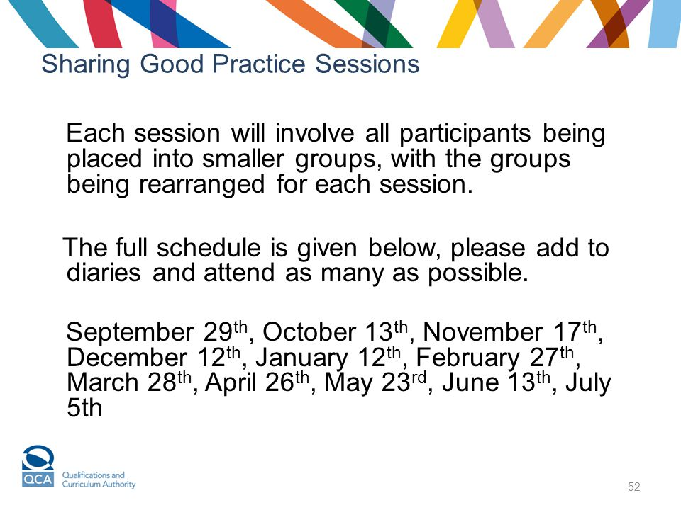 52 Sharing Good Practice Sessions Each session will involve all participants being placed into smaller groups, with the groups being rearranged for each session.