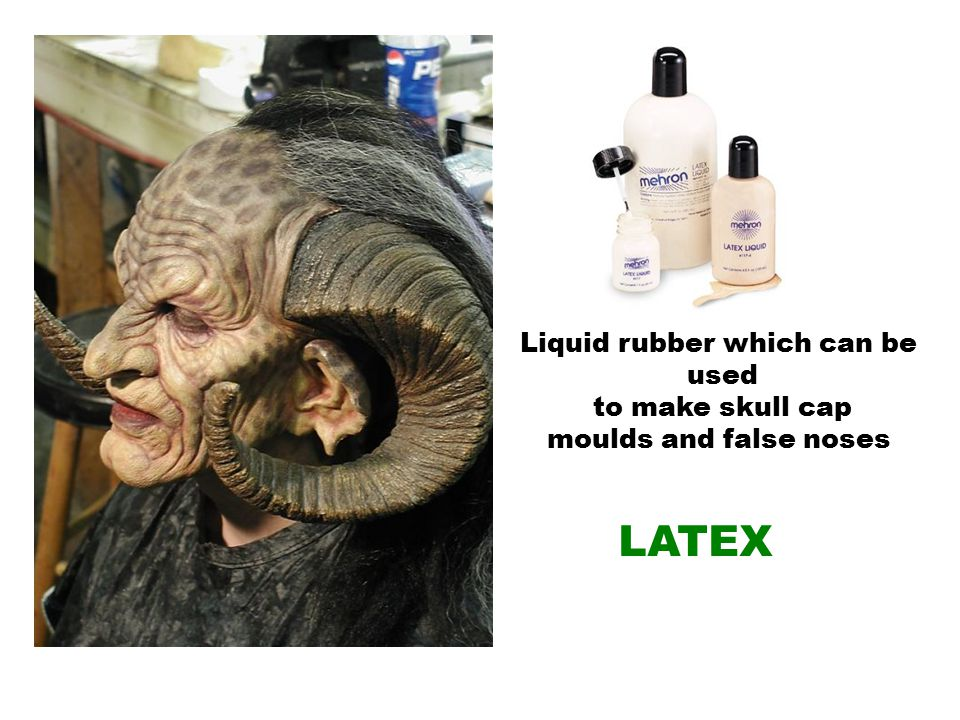 Liquid rubber which can be used to make skull cap moulds and false noses LATEX