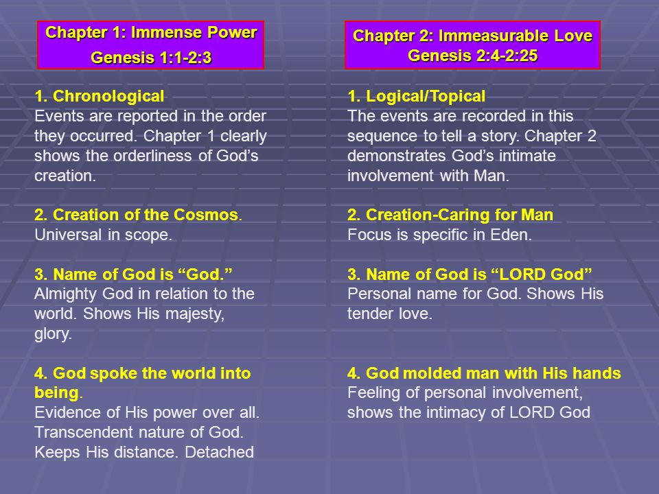Chapter 1: Immense Power Genesis 1:1-2:3 Chapter 2: Immeasurable Love Genesis 2:4-2:25 1.