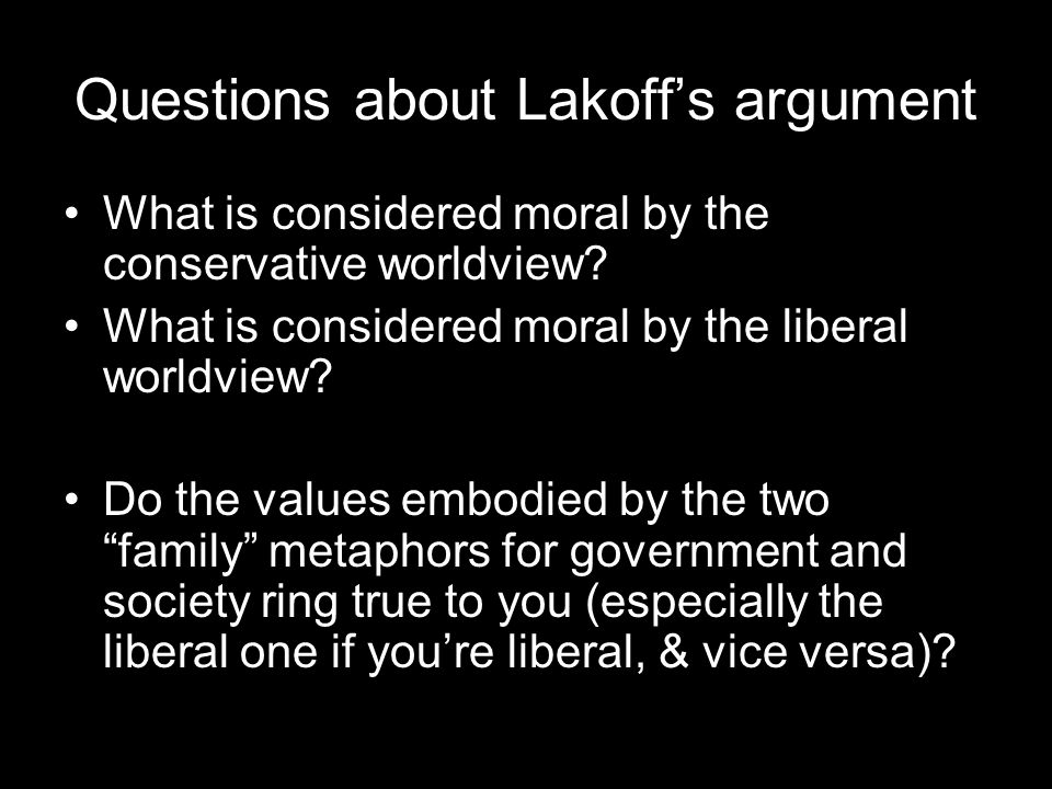 Questions about Lakoff's argument What is considered moral by the conservative worldview.