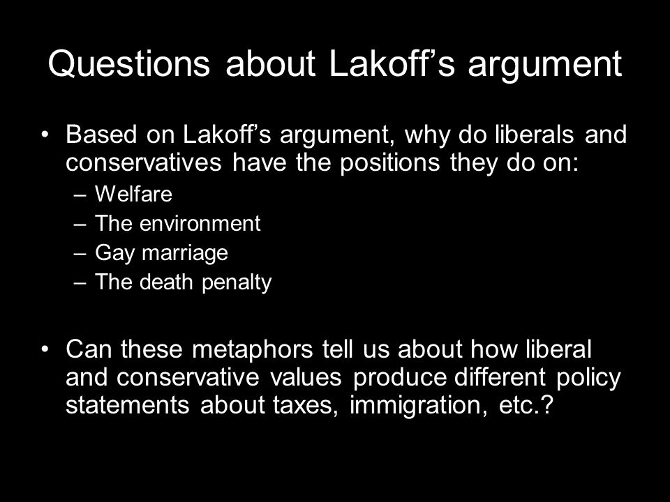 Questions about Lakoff's argument Based on Lakoff's argument, why do liberals and conservatives have the positions they do on: –Welfare –The environment –Gay marriage –The death penalty Can these metaphors tell us about how liberal and conservative values produce different policy statements about taxes, immigration, etc.