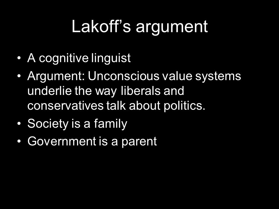 Lakoff's argument A cognitive linguist Argument: Unconscious value systems underlie the way liberals and conservatives talk about politics.