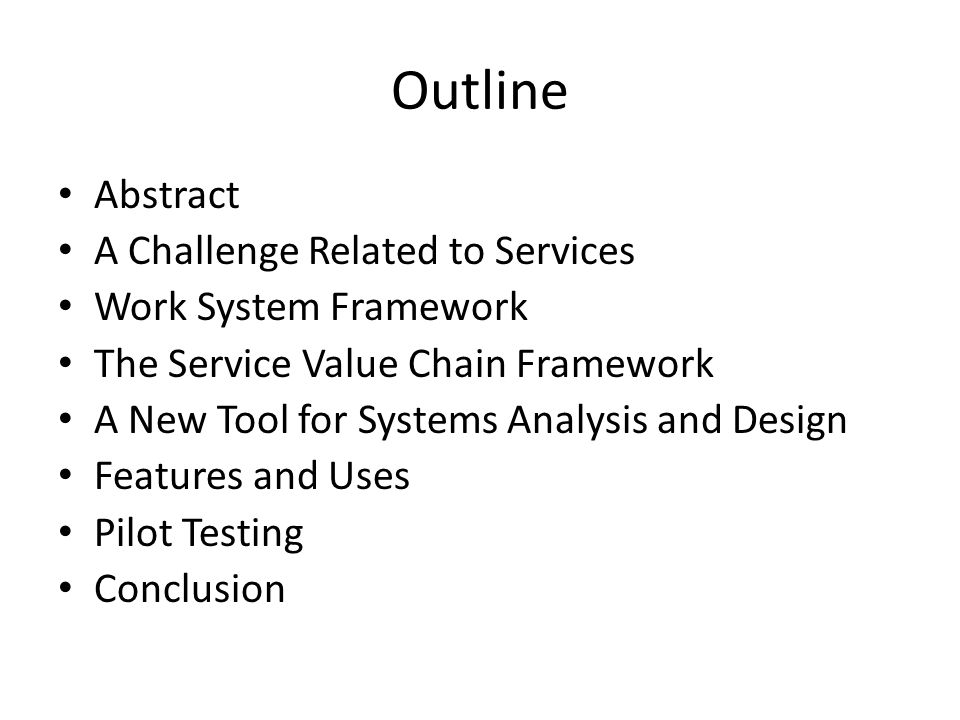 Abstract Would it be possible to develop a version of the method that specifically addressed services.