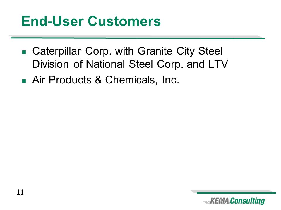11 Caterpillar Corp. with Granite City Steel Division of National Steel Corp.