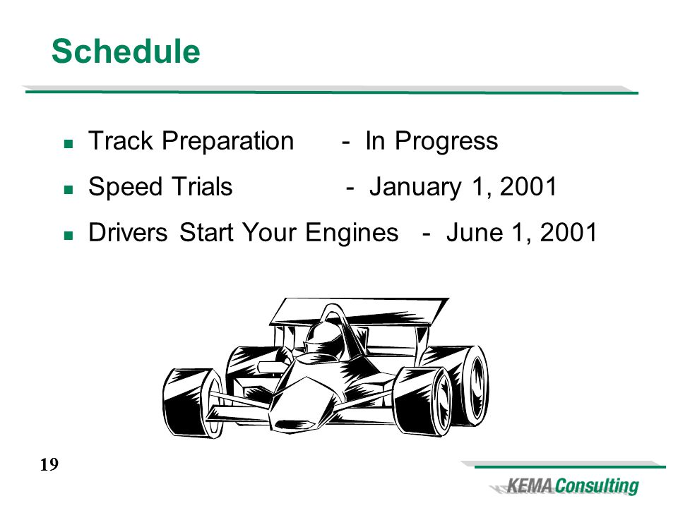 19 Schedule Track Preparation - In Progress Speed Trials - January 1, 2001 Drivers Start Your Engines - June 1, 2001