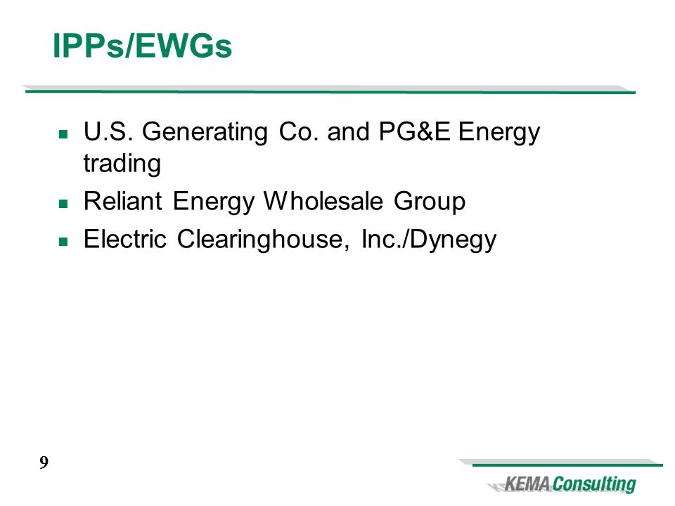 9 IPPs/EWGs U.S. Generating Co.