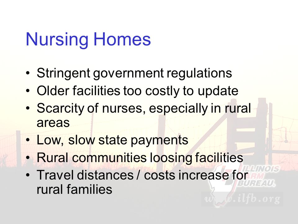 Nursing Homes Stringent government regulations Older facilities too costly to update Scarcity of nurses, especially in rural areas Low, slow state payments Rural communities loosing facilities Travel distances / costs increase for rural families